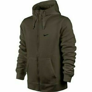 Mens Nike Club Full Zip Hoodie Sweatshirt Size S M Olive Green 823531 325   eBay