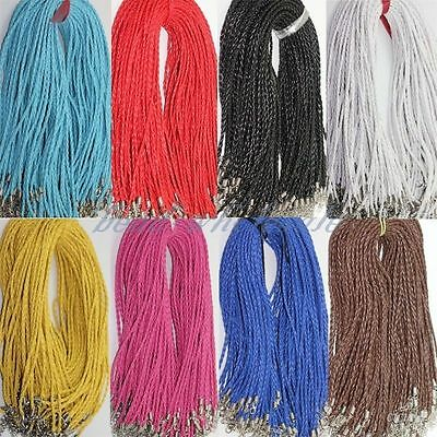 Lots 5/10/100pcs Man-made Leather Braided Hemp Rope Cord Chain For Necklace 3mm