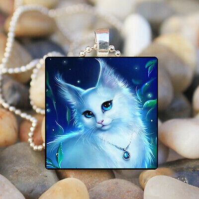 photo Cabochon Glass Silver Tile Chain Pendant Necklace Jewelry #714 Anmial Cat