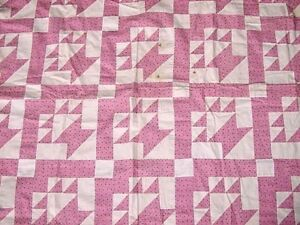 OUTSTANDING-ANTIQUE-TWO-COLOR-BASKET-QUILT-TOP-EARLY-1900s