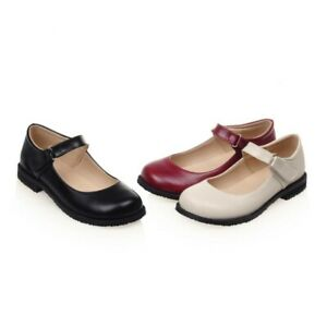 Women Round Toe Buckle Oxford Flats Retro Casual Loafers Lolita Mary Janes Shoes