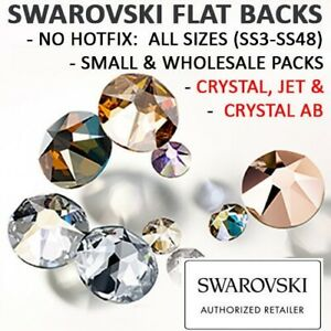 Genuine-Swarovski-Flatback-Crystals-NON-HOTFIX-Crystal-amp-AB-amp-Jet-All-Sizes