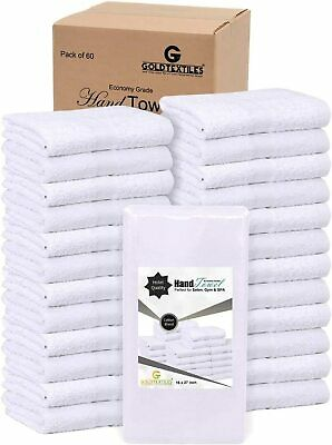 "GOLD TEXTILES 60 PCS 16/""x30/"" Premium Dobby Border Luxury Hand Towel Bright White"