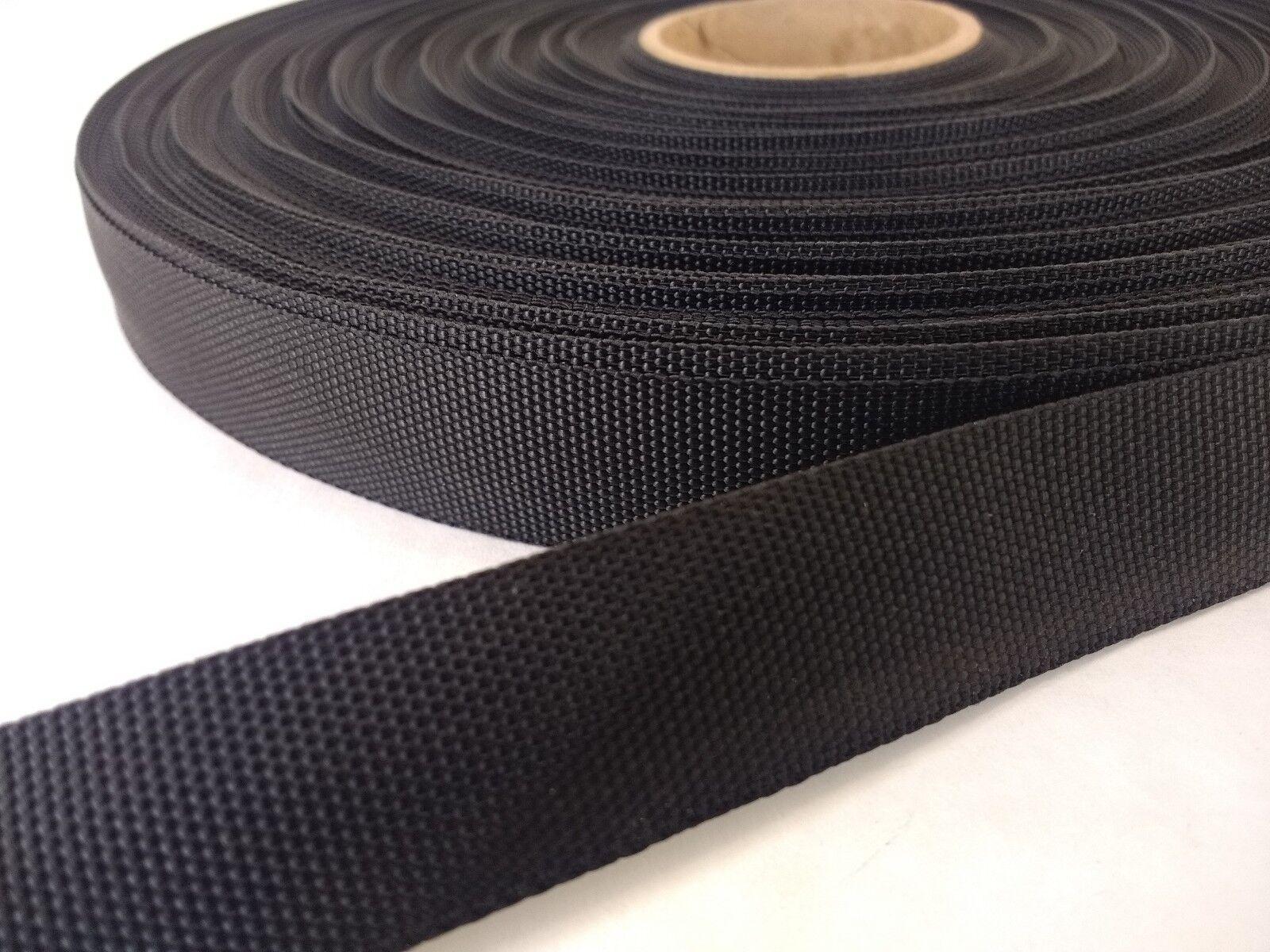 25 feet of 3//4 inch wide BLACK very lightweight nylon webbing .5mm