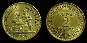 France-2-Francs-1924-French-Chamber-of-Commerce-high-grade