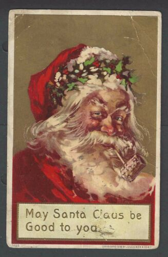 1919 PPC Xmas Greetings WSanta Smoking A Pipe Embossed Posted