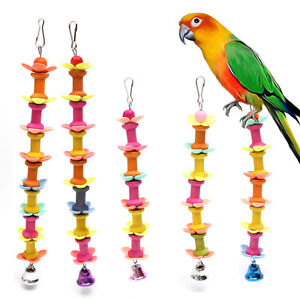 Pet Bird Parrot Parakeet Budgie Cockatiel Cage Bell Play Hanging Chew Wooden Toy