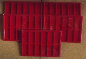 5-Plateaux-rouge-couvercles-pour-12-insignes-medailles-decorations-militaires