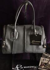 B. Makowsky Grey Whitney Crosshatch Leather Satchel Handbag Purse NWT