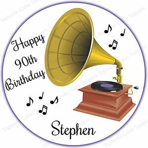 Personalised Gramophone Classical Music Edible Icing Birthday Cake