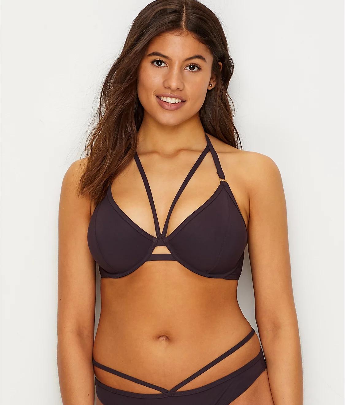 Miss Mandalay BLACK Icon Halter Bikini Swim Top US 34DD