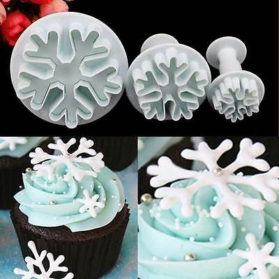 3pcs Snowflake Fondant Cake Decorating Sugarcraft Cutter Plunger Mold Mould XJ