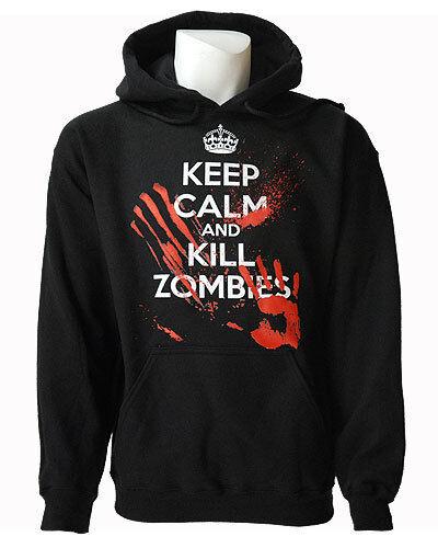Darkside  Herren Hoodie Pull Over Keep Calm Kill Zombies Blood Splatter Größe XL