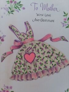Vtg-GLITTER-APRON-Pink-HEART-To-MOTHER-with-Love-amp-Gratitude-GREETING-CARD
