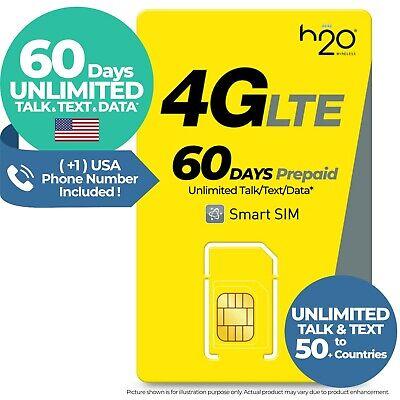 USA 60Day UNLIMITED DATA TALK TEXT AT&T Prepaid Travel SIM Card Hotspot 2GB  h2o | eBay
