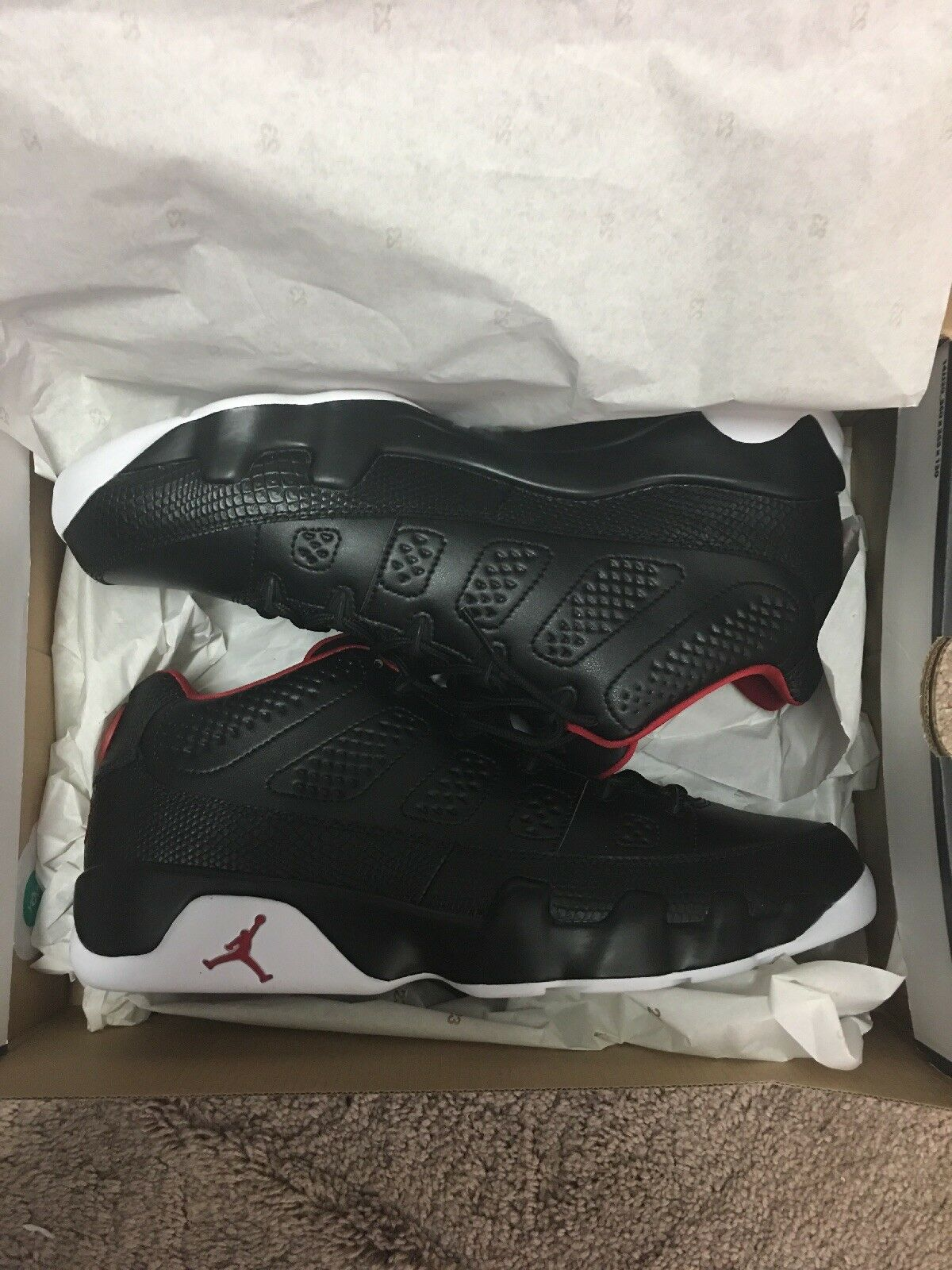 Nike Air Jordan Retro IX 9 Low Black White Gym Red Bred Playoff size 13