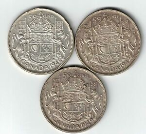3-X-CANADA-50-CENTS-GEORGE-VI-800-SILVER-COINS-1946-DESIGN-1947ML-1949-HOOF-9