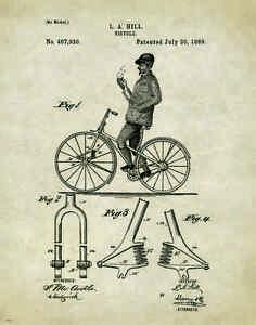 Bicycle Patent Poster Art Print Vintage Bike Parts Service Repair