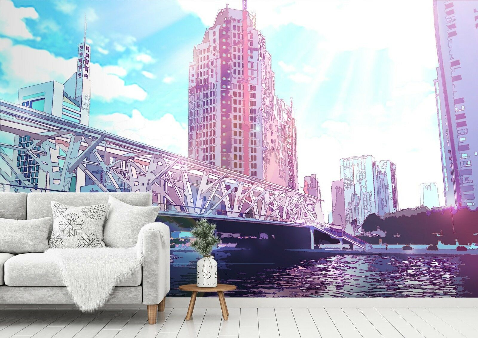 3D Anime Sky City Bridge 45  Wallpaper Murals Wall Print Wallpaper Mural AJ WALL