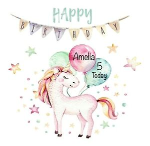 Image Is Loading PERSONALISED Happy Birthday UNICORN Girls Greeting Card