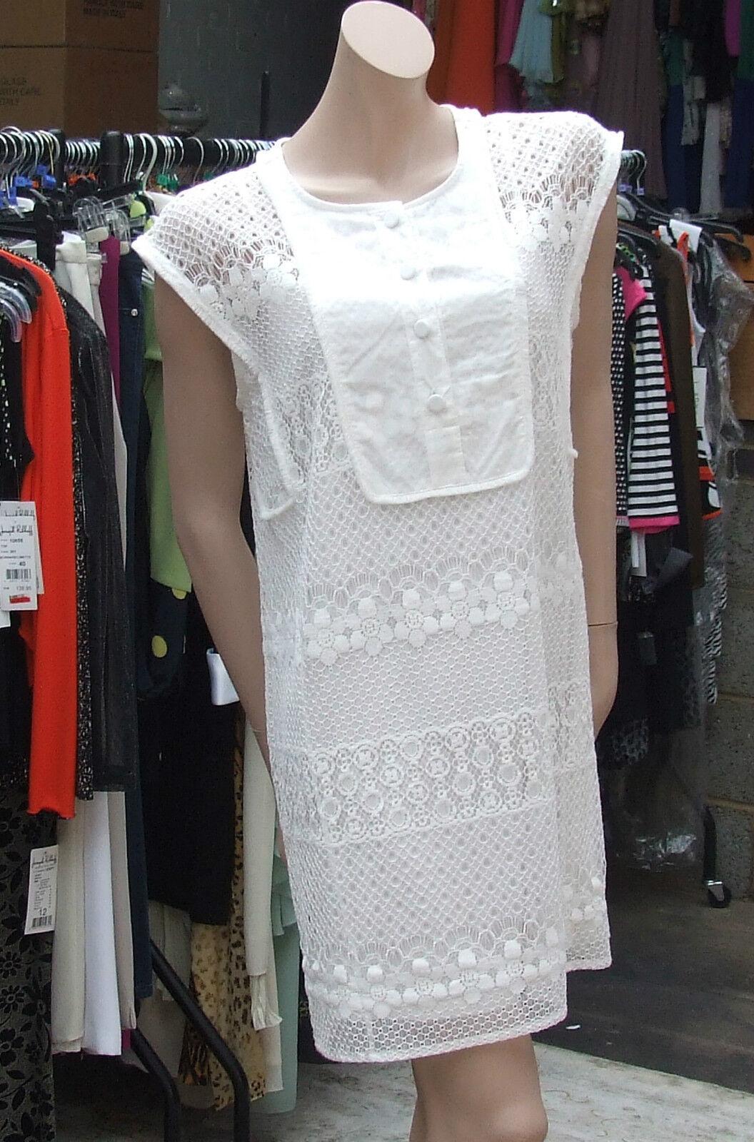 Joseph Ribkoff BNWT 12 Stunning Extra Long Cream Cami & Lacy Weiß Tunic Dress