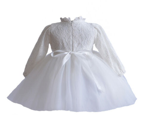 Long Sleeve Lace Christening Party Dress and Bonnet White Ivory 0-3 to 18-24 M