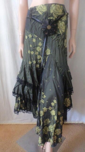JANE CAMPIONE Green Skirt With Belt Sz 38 (10)