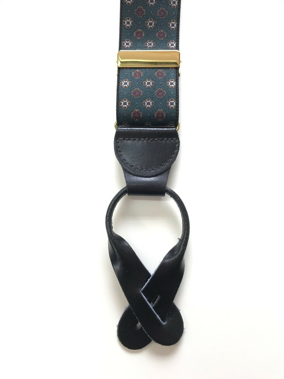 2 Colours Men's Suspenders/Braces with Leather Fastening - 3,5cm Wide - 56