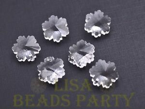 New-10pcs-14X7mm-Snowflake-Faceted-Glass-Pendant-Loose-Spacer-Beads-Clear