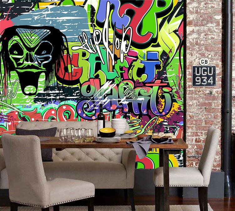 3D Grimacer Photo Papier Peint en Autocollant Murale Plafond Chambre Art