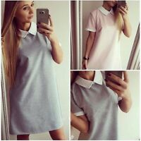 Fall Fashion Women Casual Turn Down Peter Pan Collar Short Sleeve Shirt Dress K