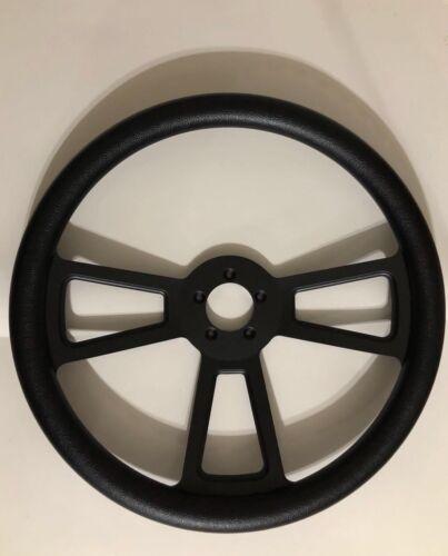 """18/"""" Black Steering Wheel  3 Black Spoke Complete Set Horn /& Hub Adapter Included"""