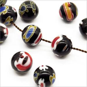 Lot-de-Perles-en-Verre-MILLEFIORI-couleur-Noir-Taille-au-choix