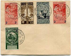 1913-Cinquantenario-dell-039-Unita-d-039-Italia-sovrastampati-Serie-Completa-su-Busta