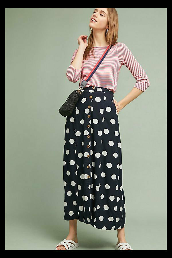 NWT Anthropologie Maeve Claudette Maxi Skirt Button Front B&W Polka Dots 8