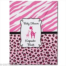 SWEET SAFARI GIRL KEEPSAKE BOOK ~ Baby Shower Party Supplies Favors Pink Giraffe