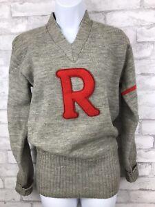 Vintage-Wool-Gray-Varsity-Letterman-Sweetheart-Sweater-With-Red-R-71-Medium