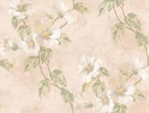 Wallpaper-Designer-Floral-Hibiscus-Trail-Vine-Green-Leaves-on-Beige-Background