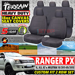 FORD-RANGER-PX-DUAL-CAB-GREY-18oz-CANVAS-SEAT-COVERS-CUSTOM-FIT-10-2011-05-2015