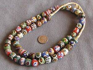 """24"""" Str Fancy African Krobo Recycled Glass Trade Beads Assorted 11-12mm"""