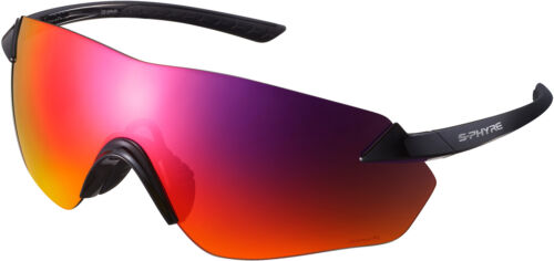 Shimano S-Phyre R Bicycle Cycle Glasses Gloss Black With Polarized Dark Red Lens