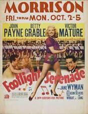 FOOTLIGHT SERENADE Movie POSTER 27x40 John Payne Betty Grable Victor Mature Jane