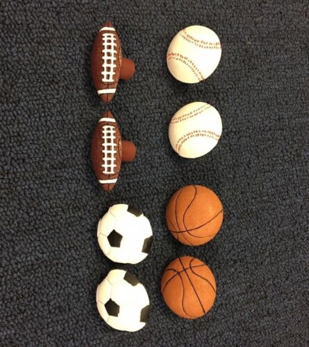 1 pair (2 each) SPORTS BALL DRAWER PULLS.Baseball, Basketball, Football, Soccer
