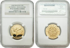 Bhutan 1994 Atlanta Olympics - Kick Boxing 5 Sertum Gold Proof Coin NGC PF 67