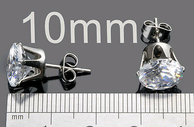 2Pcs Men Diamond Cut Crystal Diamante Stainless Steel Clear Ear Studs Earrings H