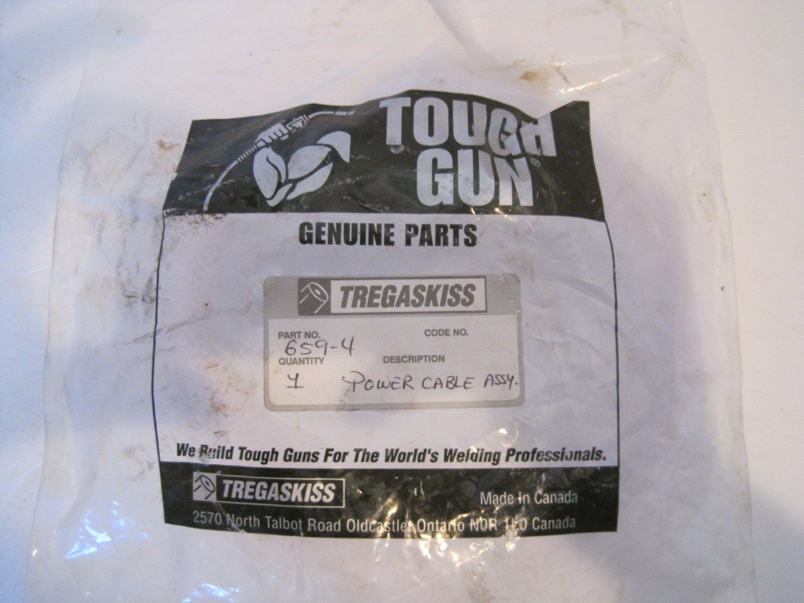 NEW TOUGH GUN TREGASKISS 659-4 POWER CABLE ASSY. 6594