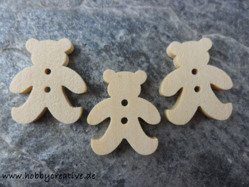 10 20 Stück Knöpfe Holz 18 mm Natur Teddy Bär Basteln Scrapbooking Deko