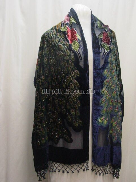 Silk Blend  Peacock shawl Victorian style dark blue with various colored accents