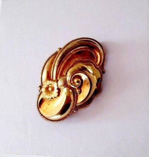 Biedermeier broche stemplet A*D - guld doublé, 4 cm. X 2,8