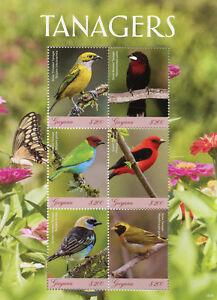 Guyana 2018 Neuf Sans Charnière Tanagers Guira Tangara écarlate 6 V M/s Oiseaux Timbres-afficher Le Titre D'origine
